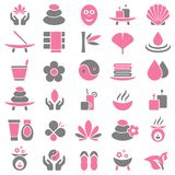 Réglé de trente icônes rose et gris de bien-être illustration libre de droits