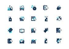 Réglé des icônes de nettoyage avec l'accent bleu, d'isolement sur le fond clair illustration stock