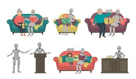 Réglé des robots parlants illustration stock
