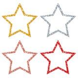 Réglé du cuivre de scintillement encadré d'argent d'or de quatre étoiles rouge illustration stock