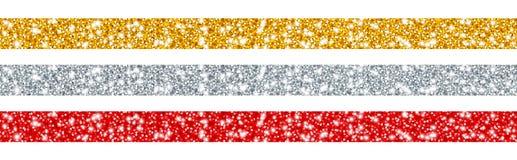 Réglé du rouge d'argent d'or de trois rubans de scintillement illustration de vecteur