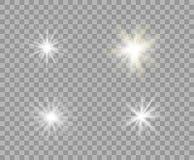 Réglé lumière transparente lumineuse blanche et jaune Étoiles de Noël de vecteur, un éclair lumineux de lumière Scintillent le fo illustration libre de droits