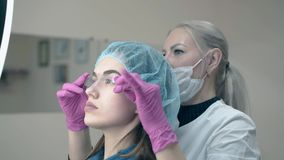 Régua da testa do uso do Cosmetologist e do cliente para verificar a tatuagem video estoque