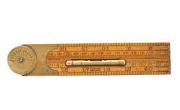 Régua de dobradura do carpinteiro antigo do 19o século fotografia de stock royalty free