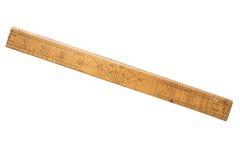 Régua de madeira da velha escola, polegadas Isolado no branco Fotografia de Stock