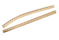 Régua de madeira no fundo branco Imagem de Stock