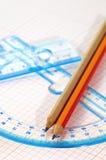 Régua e lápis Fotografia de Stock