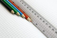 Réguas e lápis da cor Imagem de Stock Royalty Free