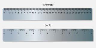 réguas, marcadas nos centímetros e nas polegadas Imagem de Stock
