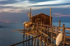 Réguas no mar, trabucco Termoli Fotografia de Stock