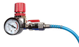 Régulateur de pression d'air avec l'indicateur de pression Images stock