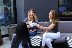 Réjouissez les femmes buvant du café au café et au repos Images libres de droits
