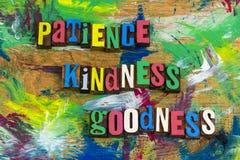 Rémission de qualité de gentillesse de la patience image stock