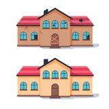 Rénovation à la maison de fixateur avant et après Vieille maison faible transformée dans le cottage suburbain traditionnel mignon illustration libre de droits