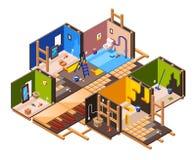 Rénovation à la maison isométrique de vecteur, ensemble de réparation illustration stock