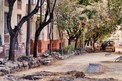Rénovation de rue à Belgrade photo stock
