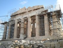 Rénovation de temple d'Athènes de restauration Image stock