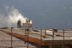 Rénovation de toit Photographie stock