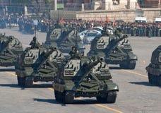 Répétition de défilé de victoire : Artillerie de Msta-S Image libre de droits