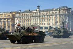 Répétition pour la célébration de Victory Parade à Moscou Image stock