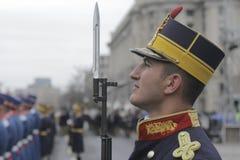 Répétition pour le défilé roumain de jour national Images stock