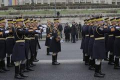 Répétition pour le défilé roumain de jour national Photographie stock