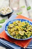 Répand le riz brun de safran des indes d'épinards photographie stock