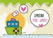 Répandez bateau de bande dessinée de /Colorful de carte de conception d'amour le petit Illustration Libre de Droits