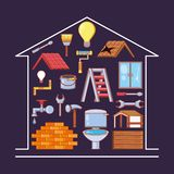 Réparation à la maison avec des icônes de trousse d'outils