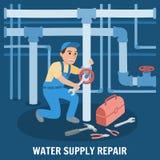 Réparation d'approvisionnement en eau Illustration de vecteur illustration stock