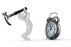 Réparation d'horloge d'alarme. Image 3D d'isolement Photographie stock