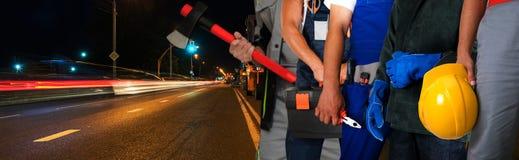 Réparation de la route Photos libres de droits