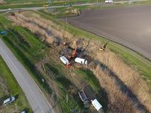 Réparation de la section de gazoduc passant par la voie d'eau Réparez le travail Photo stock