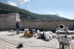 Réparation de la ville murée de Dubrovnic en Croatie l'Europe Dubrovnik est surnommé perle de ` de l'Adriatique Photo stock