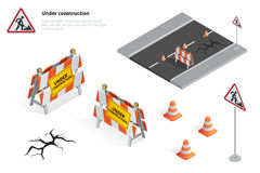 Réparation de route, panneau routier en construction, réparations, entretien et construction Photographie stock libre de droits