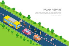 Réparation de route, travaux routiers, concept de construction Bannière horizontale isométrique du vecteur 3D Route urbaine fermé Photo libre de droits