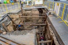 Réparation de tuyau à Prague Images libres de droits