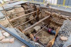 Réparation de tuyau à Prague Photographie stock libre de droits