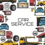 Réparation de voiture et service, vecteur illustration stock