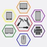 Réparation des outils pour le matériel informatique Images stock