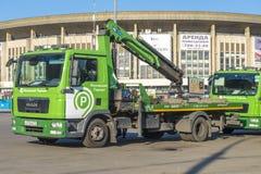 Réparation des routes à Moscou dépanneuse de machine Image libre de droits