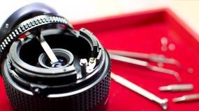 Réparation du corps d'objectif de caméra photos libres de droits