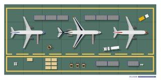 Réparation et entretien des avions Vue supérieure d'atelier Dessin industriel dans un style plat illustration libre de droits