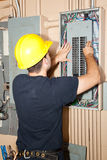 réparation industrielle électrique de panneau Images stock