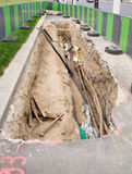 Réparation souterraine de tuyau Photo stock