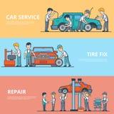 Réparation technique plate linéaire de diagnostic de voiture illustration stock