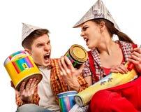 Réparez la famille par la maison heureuse de bâtiment de couples Famille de querelle Photo libre de droits
