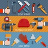 Réparez les bannières d'outils Image stock