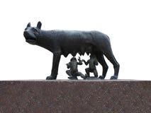 Réplica de bronze romana antiga do ela-lobo mamando Romulus Imagem de Stock