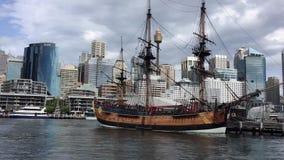 Réplica do esforço de HMB, museu marítimo, Sydney, Austrália filme